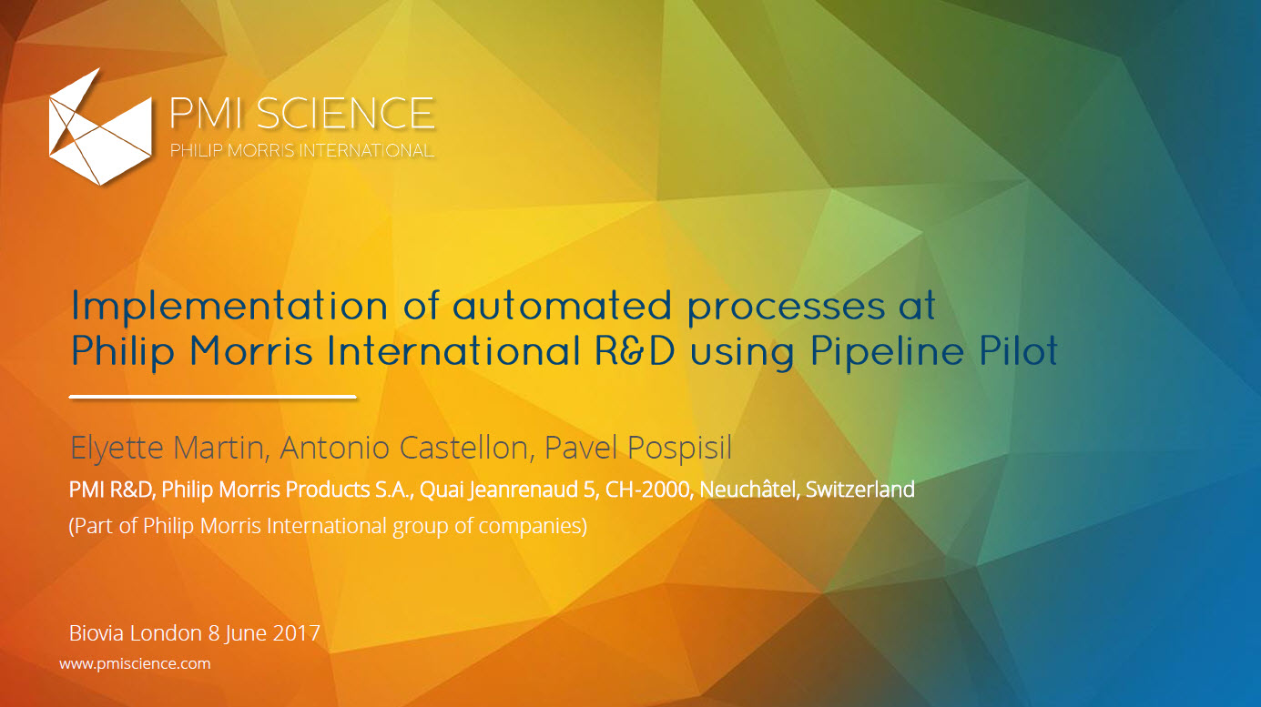 Implementation of automated processes at Philip Morris International R&D using Pipeline Pilot _Screenshot