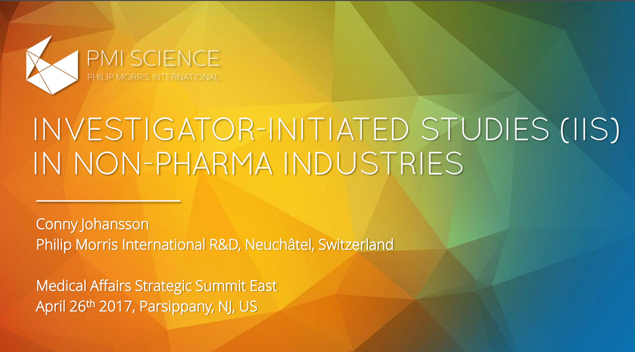 Investigator Initiated Studies IIS in Non Pharma Industries_Screenshot
