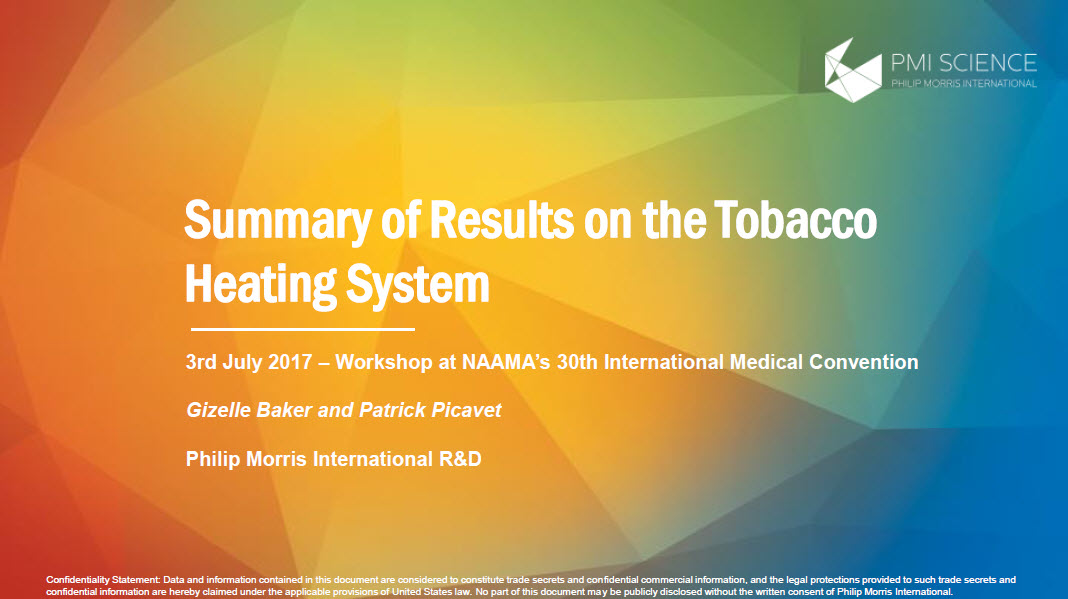 NAAMA 2017_Baker 2017 Summary of results on the Tobacco Heating System_Screenshot