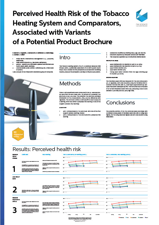 Perceived health risk of the Tobacco Heating System and comparators, associated with variants of a potential product brochure_SCREENSHOT