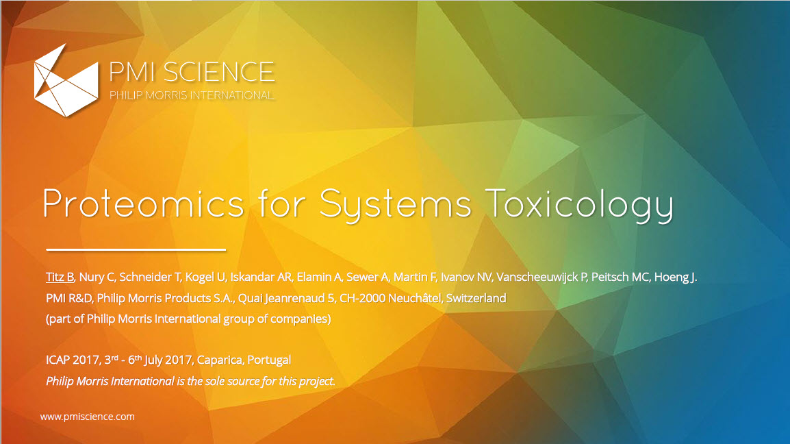 V ICAP 2017_Titz_Proteomics for systems toxicology_Screenshot