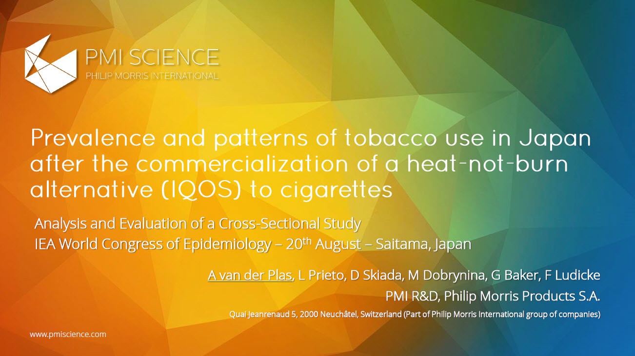 WCE 2017 van der Plas Prevalence and Patterns of Tobacco Use in Japan after the Commercialization of a Heat Not Burn Screenshot