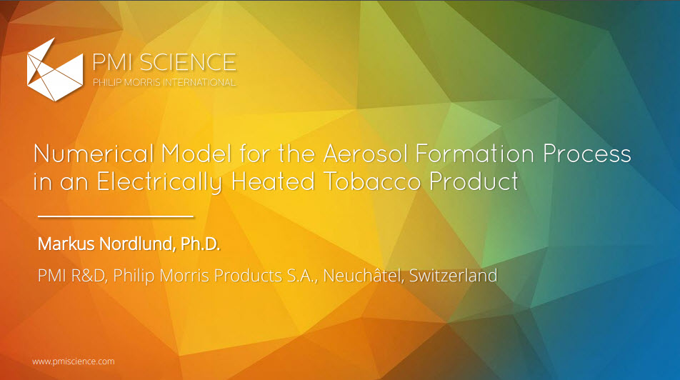 Numerical Model for the Aerosol Formation Process in an Electrically Heated Tobacco Product