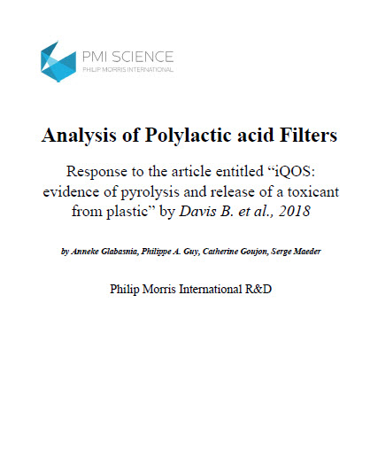 Analysis of Polylactic acid filters of Marlboro Heatsticks